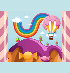Scene with candy balloon over purple mountains vector