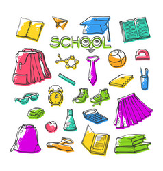 school clothes stationery various stylish vector image