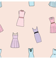 Seamless of Fashion dresses for girl vector image vector image