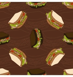 seamless pattern of two types sandwiches vector image