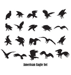 Set american eagle silhouettes vector