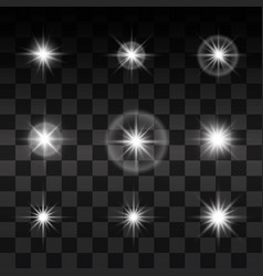 Set glowing light effect stars bursts vector