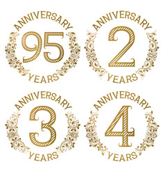 Set golden anniversary emblems vector