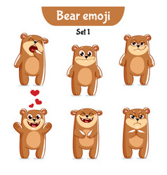 Set of cute bear characters set 1 vector