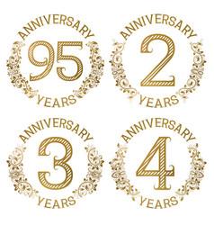 set of golden anniversary emblems vector image