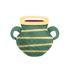 Small green ceramic pot with stripes and two vector