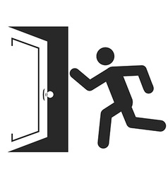 Stick man figure enters an open door icon design vector image