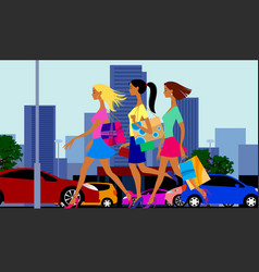 street of city with shopping girls cars and vector image
