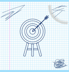 target with arrow line sketch icon isolated on vector image