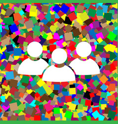 Team work sign white icon on colorful vector