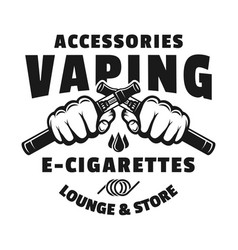 Two hands hold electronic cigarettes for vaping vector
