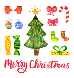 Watercolor christmas and new year vector