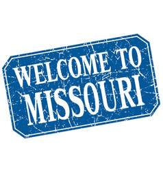 Welcome to missouri blue square grunge stamp vector