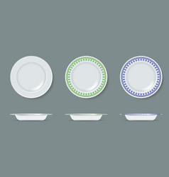 white empty and decorated ceramic plate mock up vector image