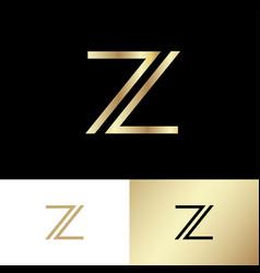 z monogram consist gold lines vector image