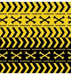 Danger tapes seamless borders vector image