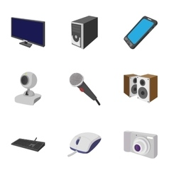 Electronic devices icons set cartoon style vector