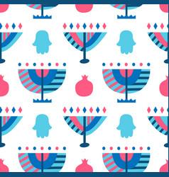 hanukkah menorah abstract seamless pattern vector image
