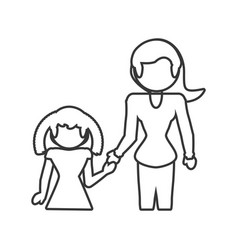mom with daughter family outline vector image vector image