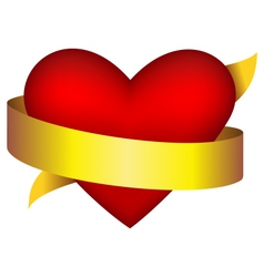 Red heart in golden ribbon on white vector image