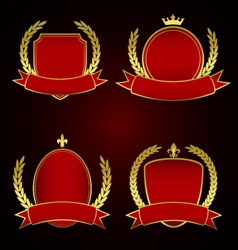 Set of red royal emblems with laurel leaves vector