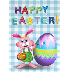 A happy easter card with a bunny and an egg vector image