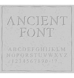 Ancient font Carved on stone plate alphabet vector image vector image