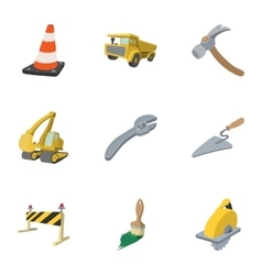 Repair road tools icons set cartoon style vector image