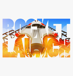 rocket launch international spaceship shuttle in vector image