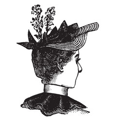 decorative hat vintage engraving vector image vector image