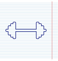 dumbbell weights sign navy line icon on vector image