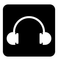 Headphones symbol button vector image