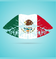 mexico flag lipstick on the lips isolated on a vector image vector image
