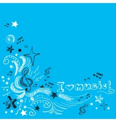 Music doodle background vector image