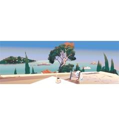 on the terrace near the sea vector image