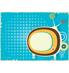 Retro television vintage poster on old paper vector image