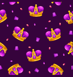 seamless pattern with cartoon golden king crowns vector image vector image