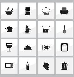 set of 16 editable kitchen icons includes symbols vector image vector image