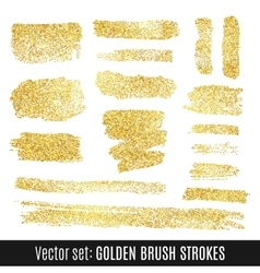Set of golden watercolor brush stroke isolated on vector image