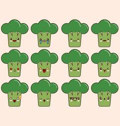 set of kawaii broccoli emoticons isolated on vector image vector image