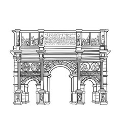 travel sign rome famous building constantins arch vector image vector image