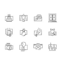 Winter holidays black line icons set vector image