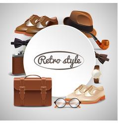 Gentleman accessories realistic frame vector
