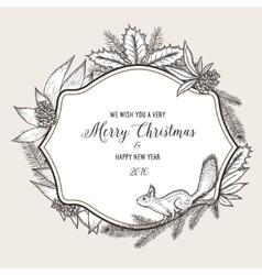Hand drawn vintage christmas greeting card Happy vector image