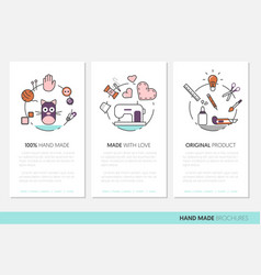 hand made business brochure sewing linear vector image