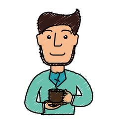 Man drinking coffee avatar vector