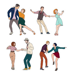 set of a young couple dancing lindy hop vector image
