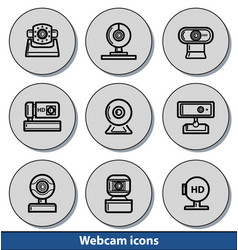 webcam light icons vector image vector image