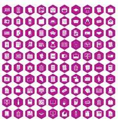 100 document icons hexagon violet vector