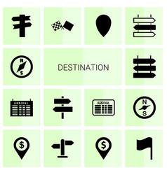 14 destination icons vector